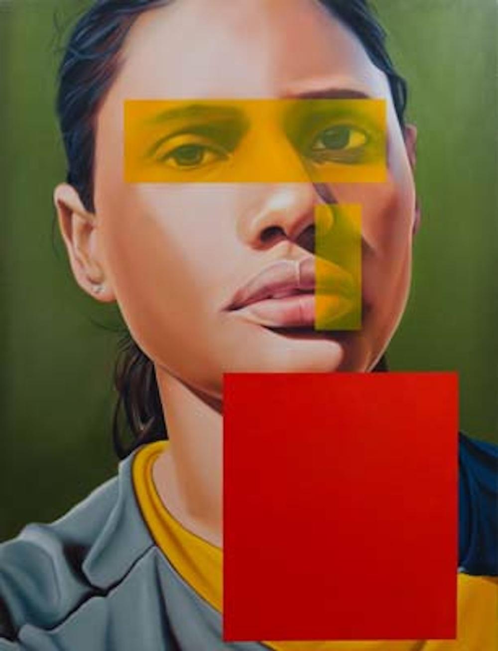 Art13 London. Sumukha Gallery. Riyas Komu Woman Footballer, Oil on Canvas Size 78 x 60 Ins