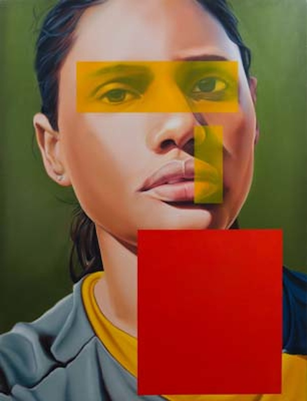 Art13 London. Sumukha Gallery. Riyas Komu Woman Footballer, Oil on Canvas Size 78 x 60 Ins
