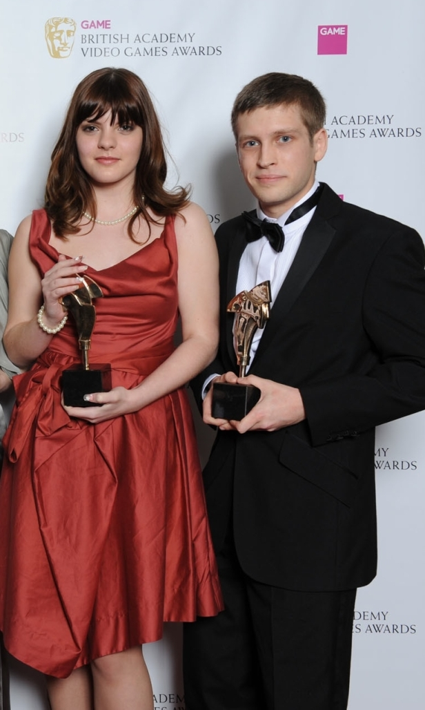 va-game-designer-sophia-george-bafta-awards-2012-with-swallowtail-co-founder-kristian-francis