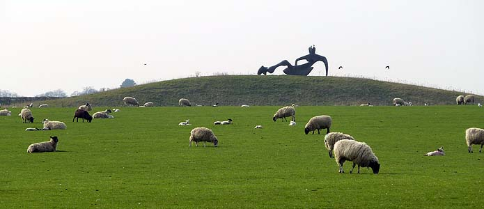 Large Reclining Figure. in the sheep field at Perry Green