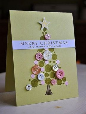 Craft Project,  A Button ChristmasCard