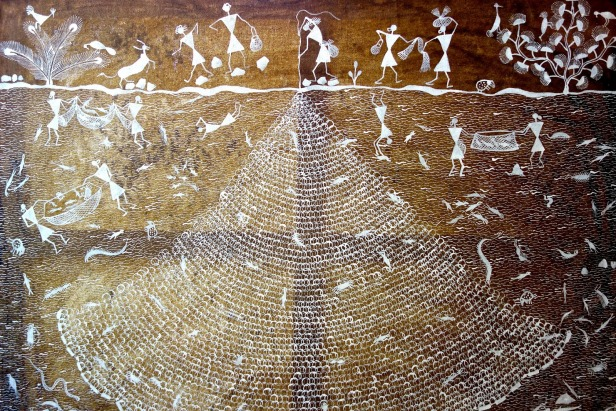 Warli painting depicting their association with fishing.JPG